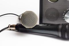 Amplifier close up and microphone Royalty Free Stock Image