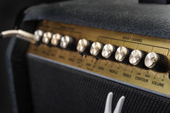Amplifier closeup. Music amplifier control knobs closeup Royalty Free Stock Image