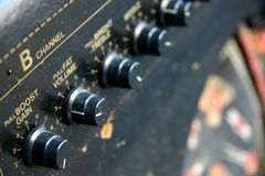 Amplifier Closeup. Closeup of amplifier dials and knobs Stock Image