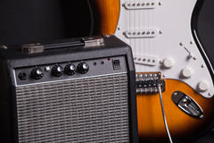 Amplifier and electric guitar Royalty Free Stock Photo