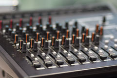 Amplifier and equalizer mixer switch of sound equpiment Stock Images