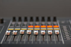 Amplifier and equalizer mixer switch of sound equpiment Royalty Free Stock Image