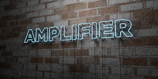 AMPLIFIER - Glowing Neon Sign on stonework wall - 3D rendered royalty free stock illustration Royalty Free Stock Images