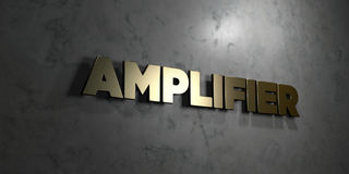 Amplifier - Gold text on black background - 3D rendered royalty free stock picture. This image can be used for an online website banner ad or a print postcard Stock Image