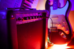Amplifier and guitar. Amplifier and electric guitar on concert stock photos