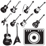 Amplifier and guitar set of icons Stock Photos