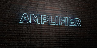 AMPLIFIER -Realistic Neon Sign on Brick Wall background - 3D rendered royalty free stock image. Can be used for online banner ads and direct mailers Royalty Free Stock Image
