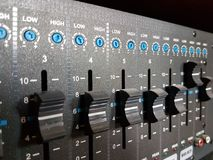 The amplifier of a sound with function of a mixer of black color. Modern audio technology of the acoustic system. Concert equipmen. T. Radio electronics for Stock Images