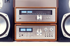 Amplifier, Tuner, Speakers Stereo Vintage Audio System Royalty Free Stock Photo