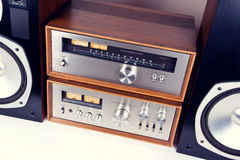 Amplifier, Tuner, Speakers Stereo Vintage Audio System Stock Photos