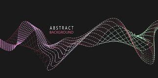 Amplitude Abstract Background with a colored dynamic waves. Bright abstract background with a dynamic waves. Line and particles. Illustration suitable for royalty free illustration