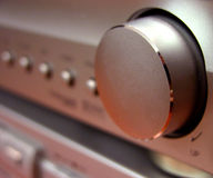 Amplituner volume button. Detail of an amplifier volume button stock images