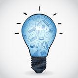 Ampola azul com ícones, vetor Foto de Stock Royalty Free