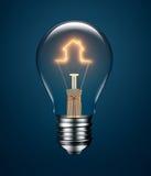 Ampola com o filamento que forma um ícone da casa Fotos de Stock Royalty Free