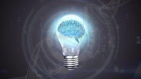 Ampola com um cérebro digital ilustração stock