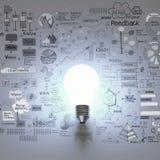 Ampola 3d com fundo da estratégia empresarial Fotografia de Stock