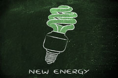 Ampola de Eco, bulbo fluorescente compacto, para o consumo de energia Fotos de Stock