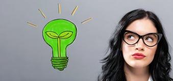 Ampola de Eco com mulher de negócios nova Imagens de Stock Royalty Free