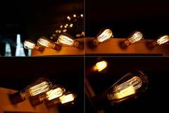 Ampola de Edison que pendura em um fio longo Luz amarela morna acolhedor Fotos de Stock Royalty Free