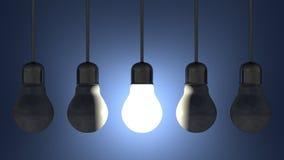 Ampola de incandescência entre mortos uns nos soquetes de lâmpada que penduram no azul ilustração royalty free