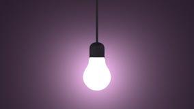 Ampola de incandescência no soquete de lâmpada que pendura na violeta ilustração do vetor
