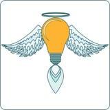 Ampola de incandescência com Angel Wings, halo e a Imagem de Stock Royalty Free