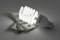 Ampola de poupança de energia, luz da energia das economias sobre Fotos de Stock Royalty Free