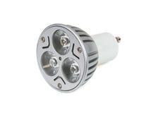 Ampola do diodo emissor de luz da economia de energia no fundo branco Fotos de Stock