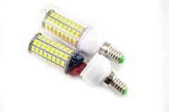 Ampola do diodo emissor de luz no fundo branco Foto de Stock Royalty Free