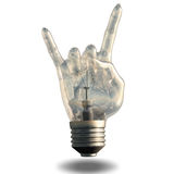 Ampola do gesto dos chifres do rolo da rocha n Foto de Stock Royalty Free
