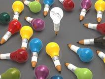 ampola do lápis 3d com as engrenagens como a liderança Imagens de Stock