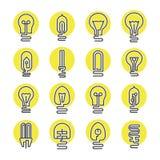 Ampola e de lâmpada do diodo emissor de luz grupo do ícone Fotografia de Stock Royalty Free