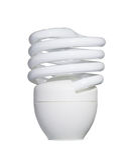 Ampola fluorescente de poupança de energia isolada no branco com grampo Foto de Stock Royalty Free