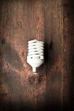 Ampola fluorescente na madeira fotos de stock royalty free