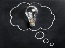 Ampola no quadro Pensamento da grande ideia nova Conceituar e criar Faculdade criadora, inovação, inspiração foto de stock