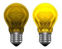 Ampolas amarelas, uma que incandesce, outra não ilustração do vetor