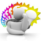 Ampolas coloridas do pensador que pensam o homem que sonha ideias Fotos de Stock Royalty Free