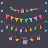 Ampolas de feliz aniversario do partido ilustração stock