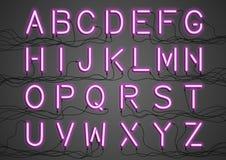 Ampolas de néon de incandescência com os fios conectados Imagem de Stock Royalty Free