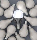 Ampolas do diodo emissor de luz e dos filamentos Imagens de Stock Royalty Free