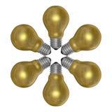 Ampolas douradas arranjadas no teste padrão radial ilustração do vetor