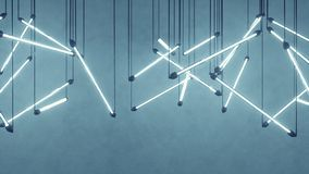 Ampolas fluorescentes azuis que penduram a rendição 3D ilustração stock