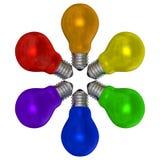 Ampolas multicoloridos arranjadas no teste padrão radial ilustração stock