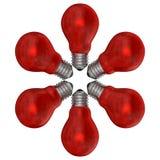 Ampolas vermelhas arranjadas no teste padrão radial ilustração stock