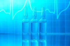 Ampolle con EKG Immagine Stock Libera da Diritti