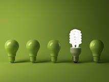 Ampoule économiseuse d'énergie d'Eco, une ampoule fluorescente compacte rougeoyante se tenant des ampoules incandescentes non all Photo stock
