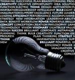 Ampoule électrique avec des mots de créativité photo stock