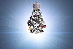 Ampoule électrique avec des pièces d'auto Photos stock