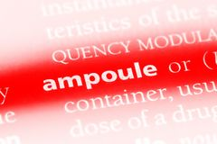 Ampoule. Word in a dictionary.  concept Stock Image