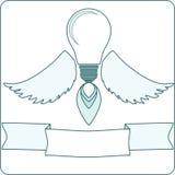 Ampoule avec Angel Wings et une flamme Illustration Stock